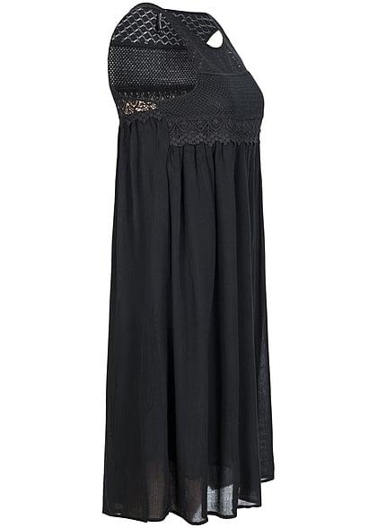 Eight2Nine Damen Midi Kleid oben gehäkelt leicht fallend by Rock Angel schwarz