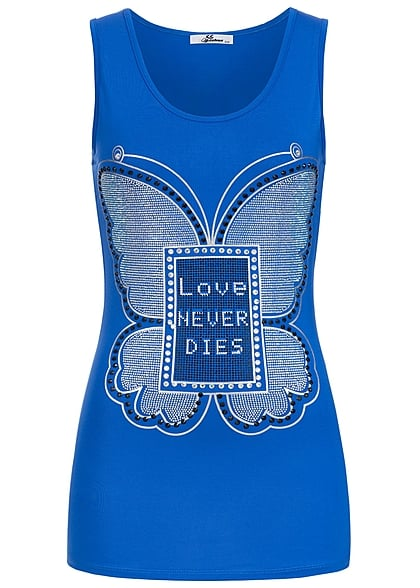 Seventyseven Lifestyle Top Damen Top Strass Schmetterling Love Never Dies blau