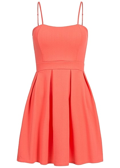 Styleboom Fashion Damen Mini Kleid verstellbare Träger Brustpads coral pink