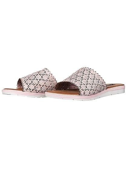 Seventyseven Lifestyle Schuh Damen Sandale Strasssteine Flecht Muster rosa pink
