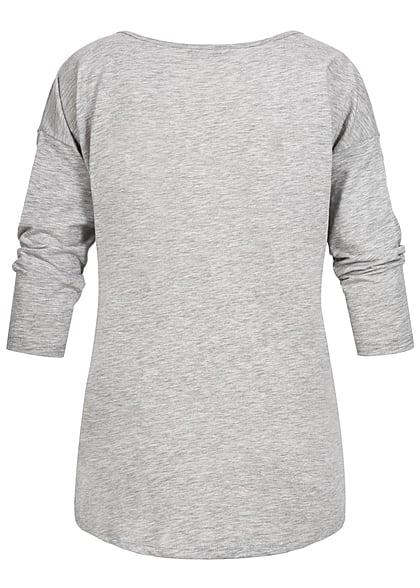 ONLY Damen Sweater Einhorn Kopf hell grau melange