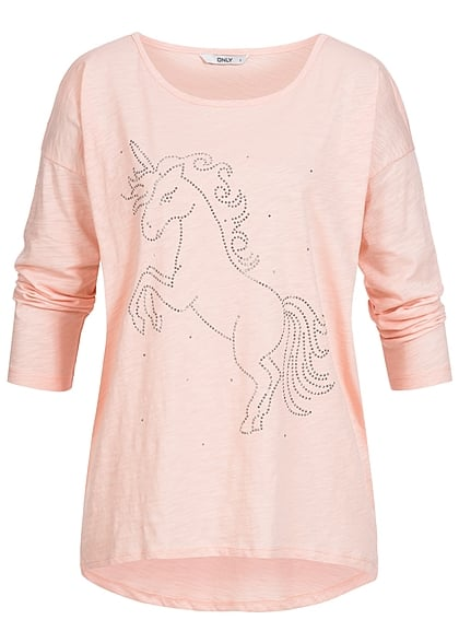 ONLY Damen Sweater Einhorn peachy keen rosa