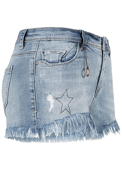 ONLY Damen Jeans Short Stern Strass hell blau denim