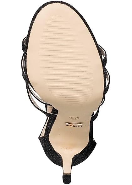 Seventyseven Lifestyle Schuh Damen Stiletto Sandalette Absatz 12cm Glitzer schwarz