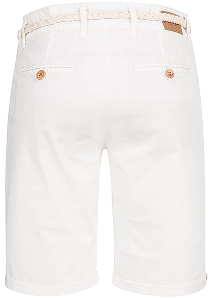 Eight2Nine Damen Chino Bermuda Short Kordelgürtel cloudy weiss
