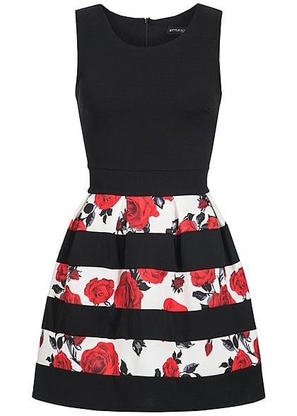 Styleboom Fashion Damen Kleid Blumen Muster Gestreift Schwarz Rot