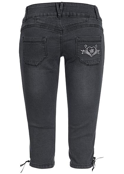 Hailys Damen Trachten 3/4 Jeans mit Stickerei 5-Pockets schwarz