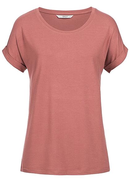 only damen t shirt noos rmel umgeschlagen lockerer schnitt withered rose rosa 77onlineshop. Black Bedroom Furniture Sets. Home Design Ideas