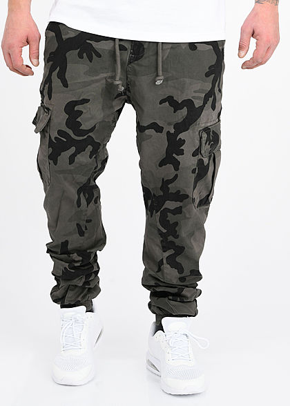 seventyseven lifestyle herren cargo jogging hose 6 pockets gummibund grau camouflage 77onlineshop. Black Bedroom Furniture Sets. Home Design Ideas