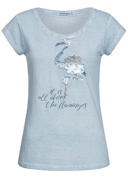 eight2nine damen t shirt flamingo pailletten patch by stitch and soul hell blau 77onlineshop. Black Bedroom Furniture Sets. Home Design Ideas
