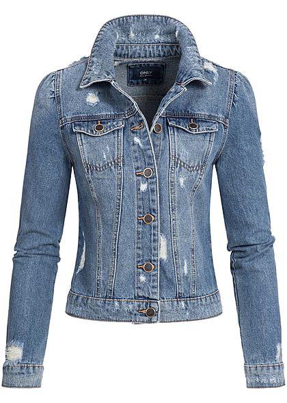 only damen jeans jacke 2 brusttaschen medium blau denim 77onlineshop. Black Bedroom Furniture Sets. Home Design Ideas