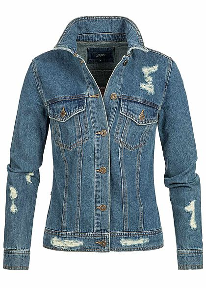 only damen jeans jacke destroy look 2 brusttaschen medium blue denim 77onlineshop. Black Bedroom Furniture Sets. Home Design Ideas