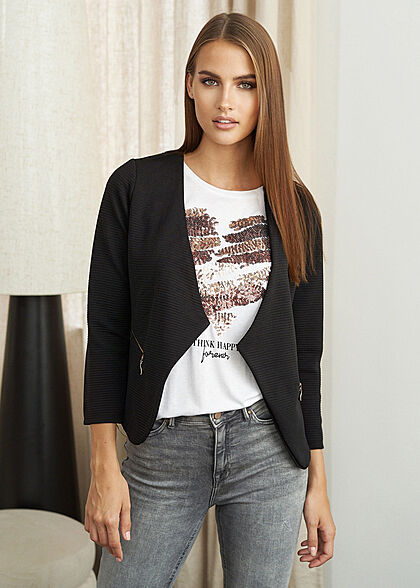 Styleboom Fashion Dames Ribbed Blazer 2-Zip Pockets zwart