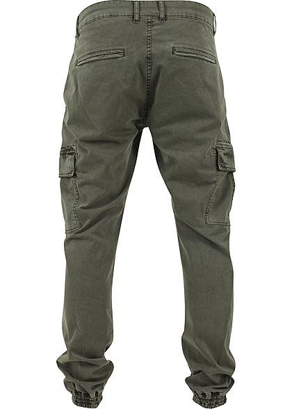Urban Classics Heren Cargo Joggpants Broek 6-Pockets olijfgroen denim