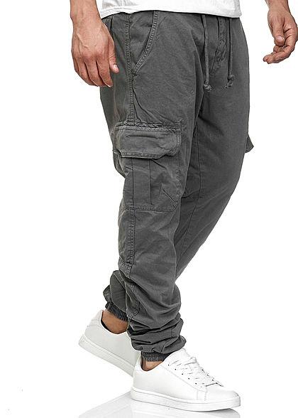 Seventyseven Lifestyle Herren Cargo Jogging Hose 6-Pockets dunkel grau