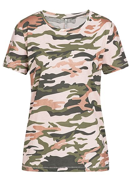 only damen t shirt kurzarm camouflage print rundhals camouflage rosa gr n 77onlineshop. Black Bedroom Furniture Sets. Home Design Ideas