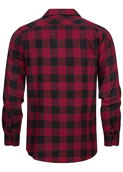 Urban Classics Heren Flanellen Overhemd geruit 2 Borstzakken zwart donkerrood