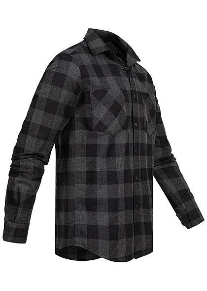 Urban Classics Herren Flanellen Overhemd geruit 2 borstzakken zwart grijs