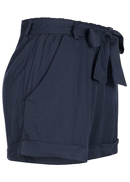 Hailys Damen Viskose Sommer Shorts inkl. Bindegürtel navy blau