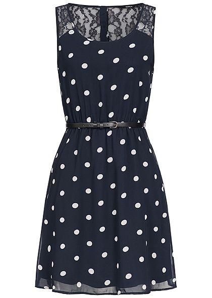 ONLY Damen Mini Kleid Punkte Muster Spitze inkl. Gürtel 2 ...