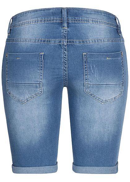 Hailys Damen Bermuda Jeans Shorts 5-Pockets leichter Crash Look medium blau denim