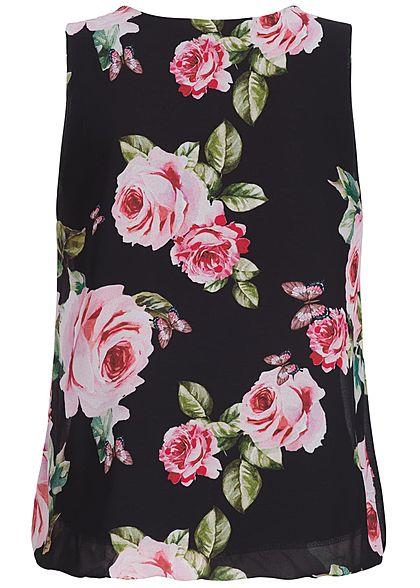 Styleboom Fashion Dames Chiffon Top Bloemenprint  zwart roze