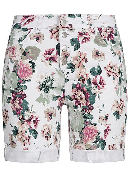 Seventyseven Lifestyle Damen Shorts Blumen Print Allover 5-Pockets weiss rosa grün - Art.-Nr.: 18052660