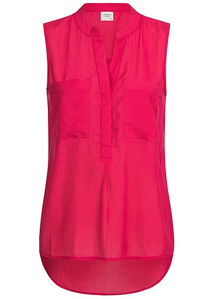 JDY by ONLY Damen Blusen Top 2 Brusttaschen love potion pink