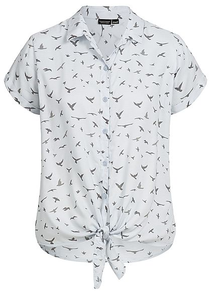 Eight2Nine Damen Blusen Vogel Muster Bindeknoten sky grau blau