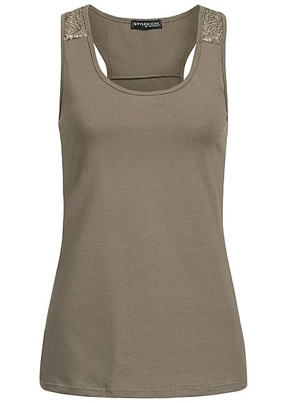 Styleboom Fashion Damen Tank Top Pailletten fango braun