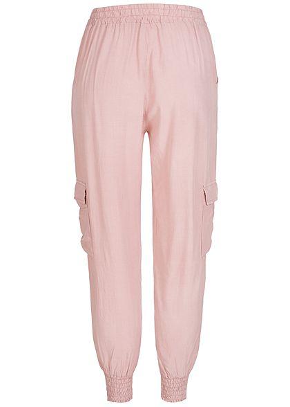 Styleboom Fashion Damen Sommer Cargo Hose 4-Pockets rosa