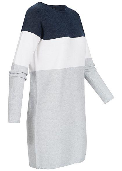 ONLY Damen NOOS Colorblock Kleid night sky navy blau weiss grau