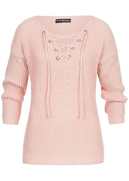 Aiki Damen Oversize Strickpullover rosa weiss grau