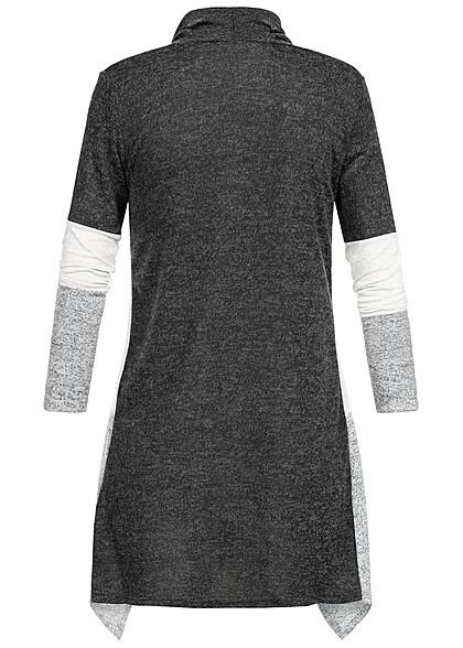 Styleboom Fashion Damen Colorblock Zipfel Cardigan Streifen Muster schwarz grau