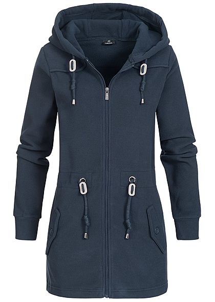 XS · S · M · L · XL · Eight2Nine Damen Fleece Parka Zip Hoodie Kapuze 2  Taschen by Sublevel navy dunkel blau 698c5ba8a6