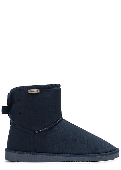 Hailys Damen Schuh Winter Boots Teddyfell Schleife hinten navy blau