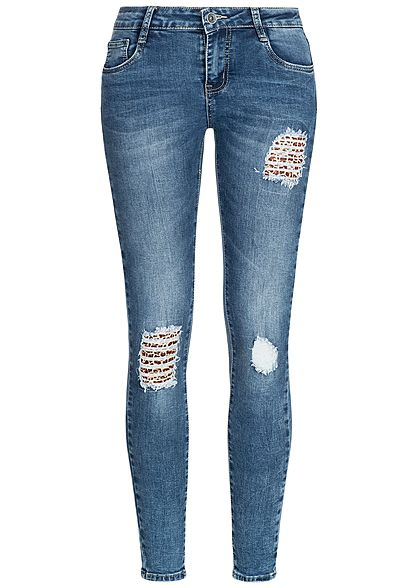 Hailys Damen Skinny Jeans Hose Destroy Leo Look 5-Pockets Regular Waist med blau denim