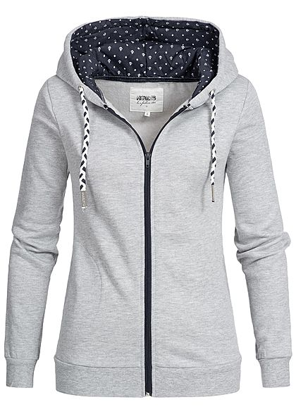 XS · L · Hailys Damen Zip Hoodie Kapuze Anker Muster 2 Taschen hell grau  blau weiss b1435a9378
