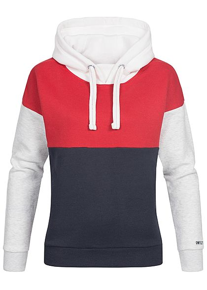 XS · S · M · L · XL · Eight2Nine Damen Hoodie Kapuze Colorblock by Sublevel  rot weiss blau e382466f63