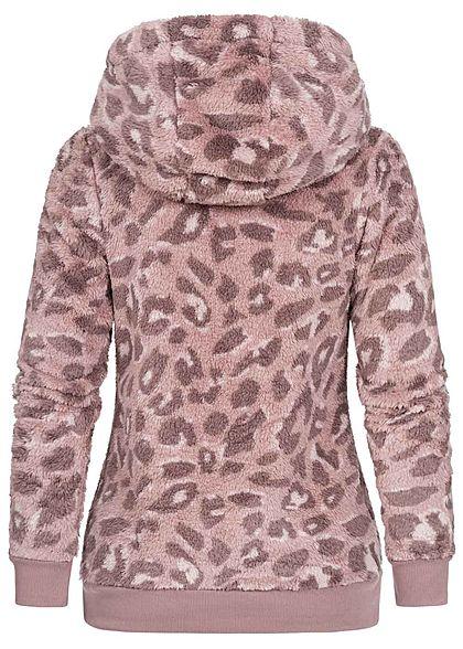 Sublevel Dames Fleece Hoodie met Kap leo print 2-pockets vintage pink