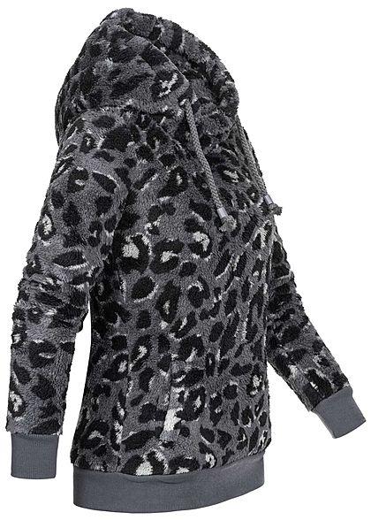 Sublevel Dames Fleece Hoodie met Kap leo print 2-pockets iron grijs