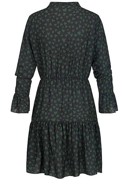 Hailys Damen Kleid Volantärmel Herz Muster Bindedetail schwarz grün
