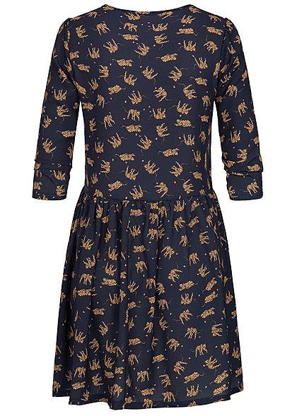 Hailys Damen 3/4 Arm Kleid Tiger Muster navy blau braun