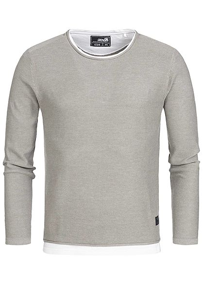 Hailys Men Longsleeve 2in1 Optik hell grau weiss