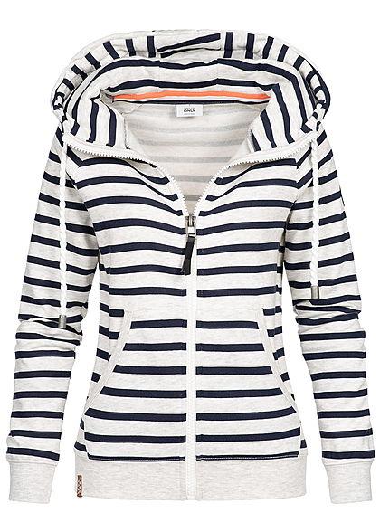 XS · S · M · L · ONLY Damen High-Neck Zip Hoodie Streifen Muster 2 Taschen  ... 777c9ee7f2