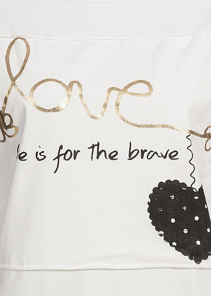 Styleboom Fashion Damen Longsleeve Love Print off weiss gold schwarz