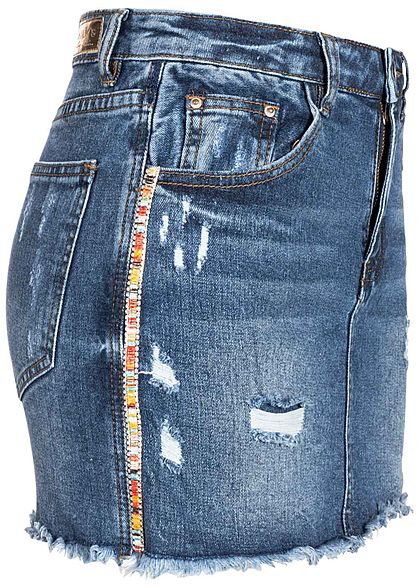 d76386284a8d5a Hailys Damen 2in1 Jeans Skirt Shorts Destroy Look 5-Pockets blau denim