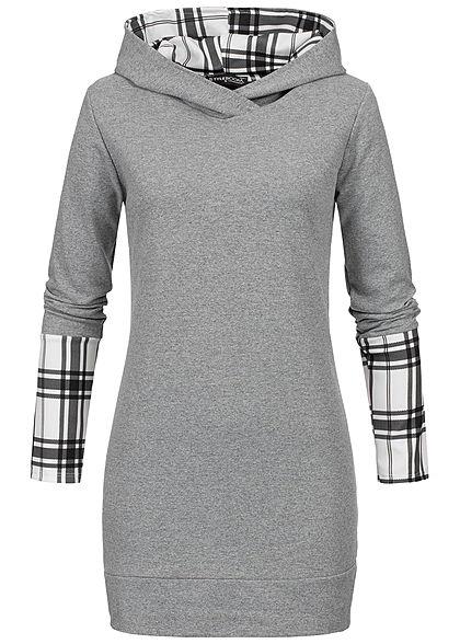 2dd1c4117c Styleboom Fashion Damen Checked Longform Hoodie grau weiss schwarz