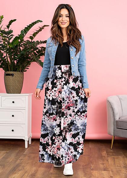 Styleboom Fashion Dames Maxi Jurk Blomen Print zwart wit roze