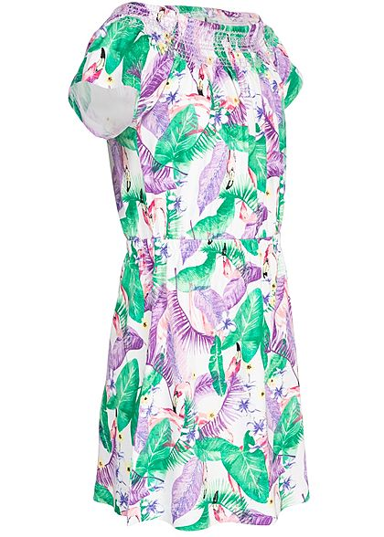 Name It Kids Mädchen Off-Shoulder Dress Flamingo Print bright weiss lila grün